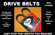 GATES 4PK, 4 RIB DRIVE BELTS, ALTERNATOR BELTS (Choose Length 635mm to 1560mm)